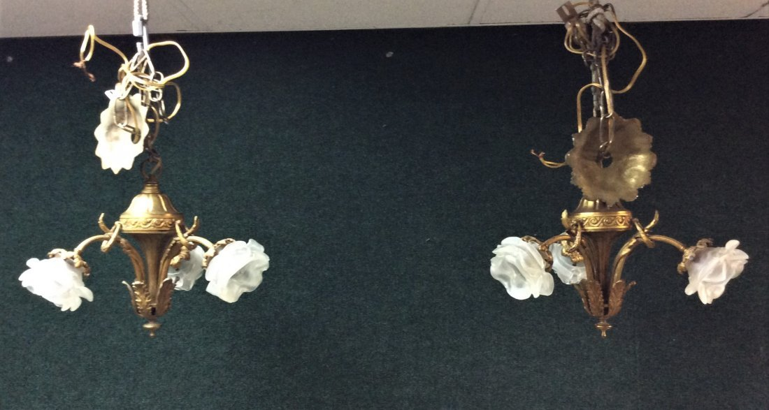 2-19C French Dore Bronze & Glass Hanging 3Lite Gasolier - 2