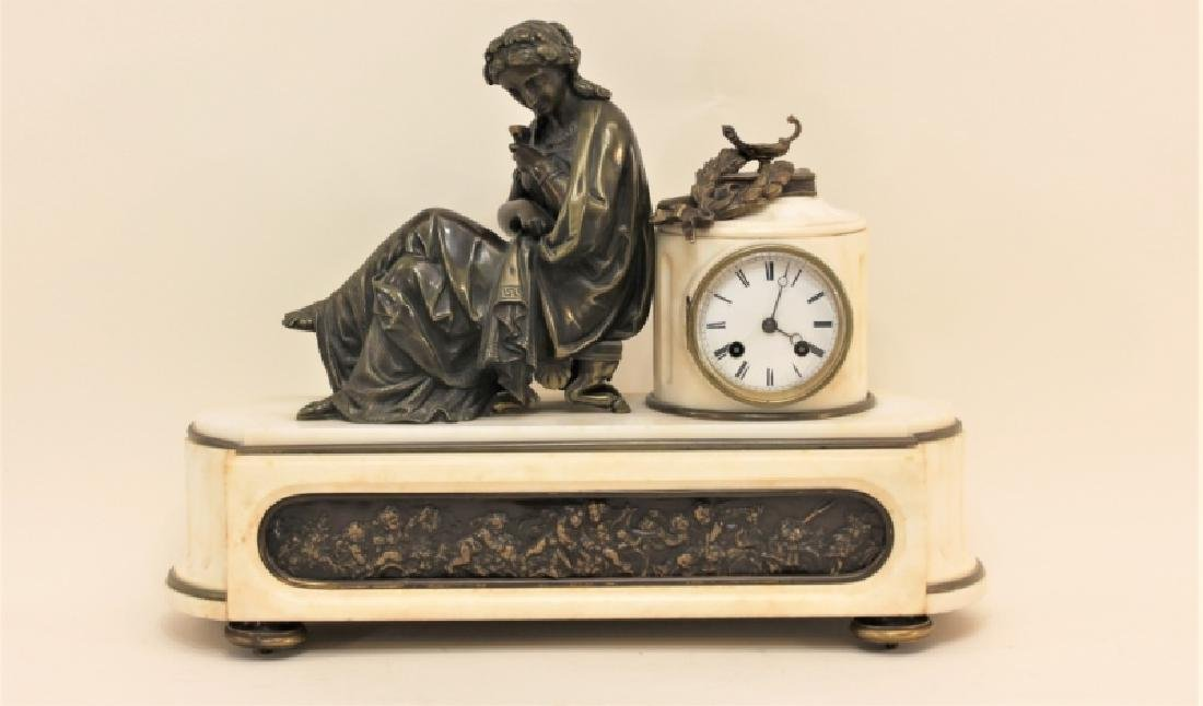19C French Theater & The Arts Bronze, Marble Clock