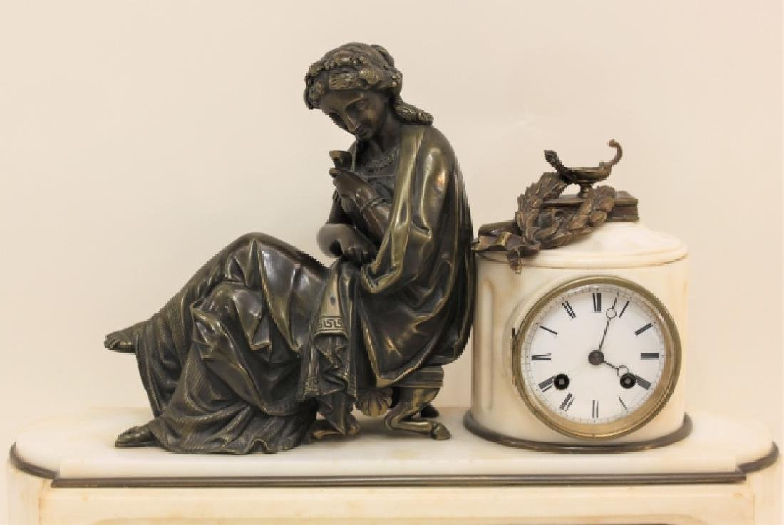 19C French Theater & The Arts Bronze, Marble Clock - 2