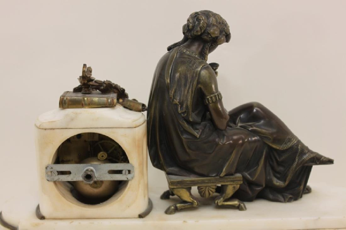 19C French Theater & The Arts Bronze, Marble Clock - 4