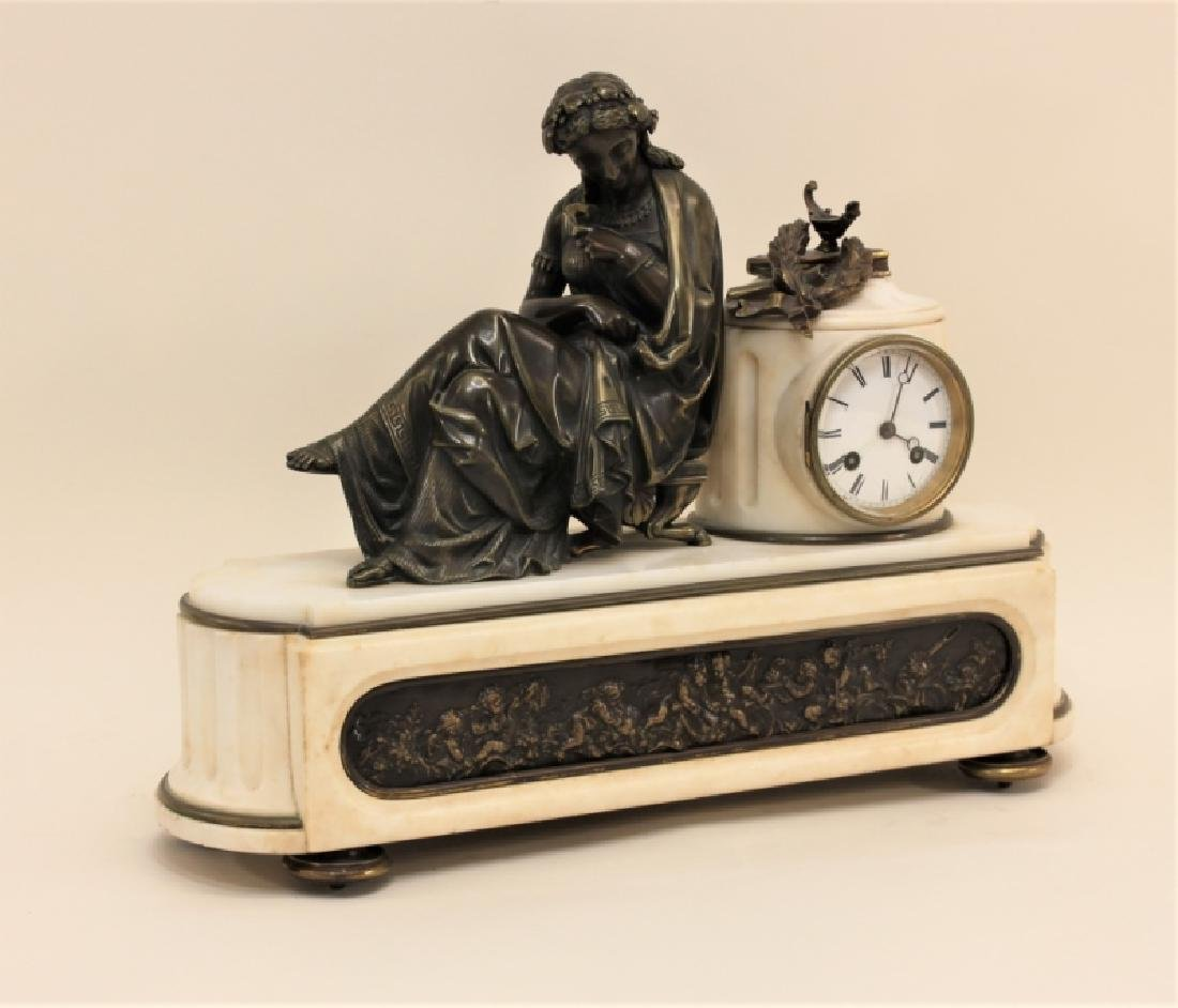 19C French Theater & The Arts Bronze, Marble Clock - 5