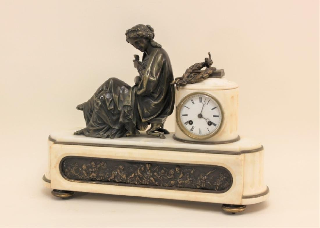 19C French Theater & The Arts Bronze, Marble Clock - 6