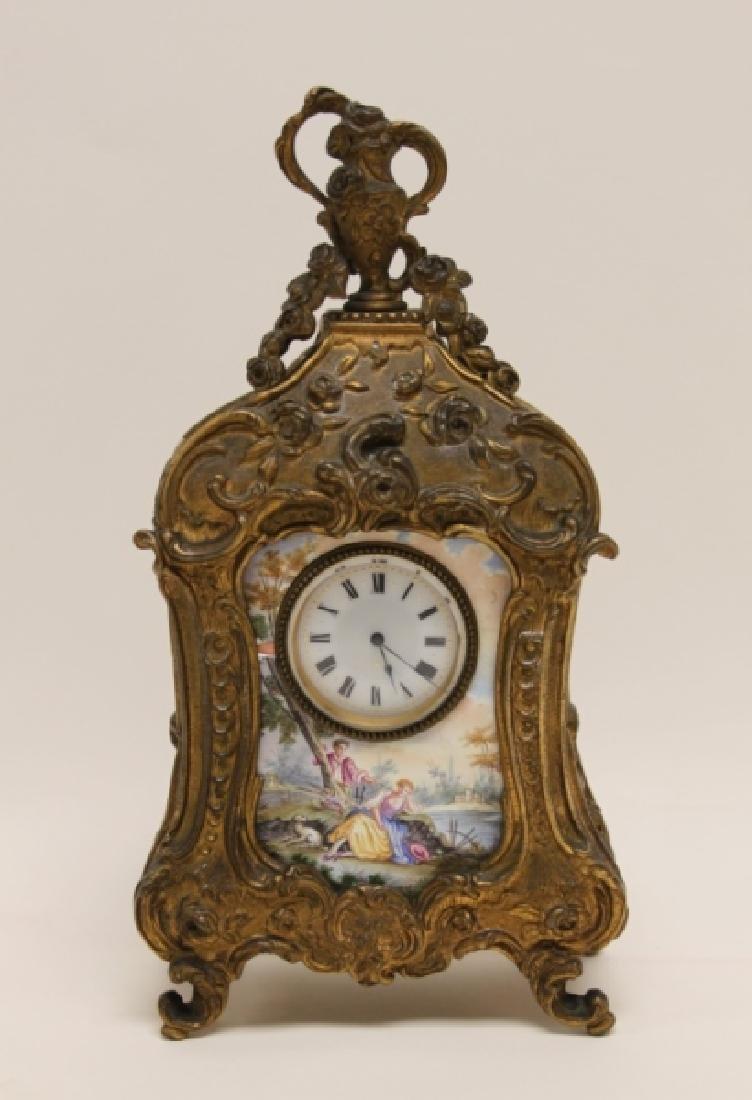19C French Rococo Dore Bronze & Enamel Shelf Clock