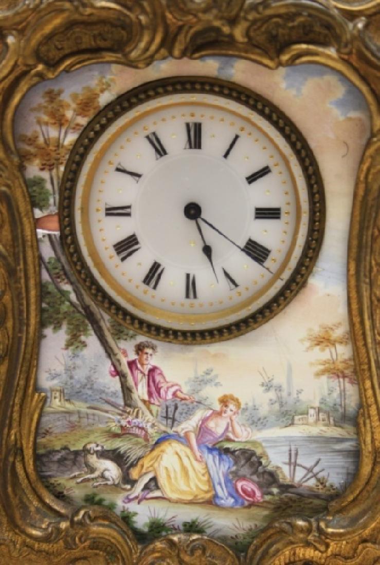 19C French Rococo Dore Bronze & Enamel Shelf Clock - 2