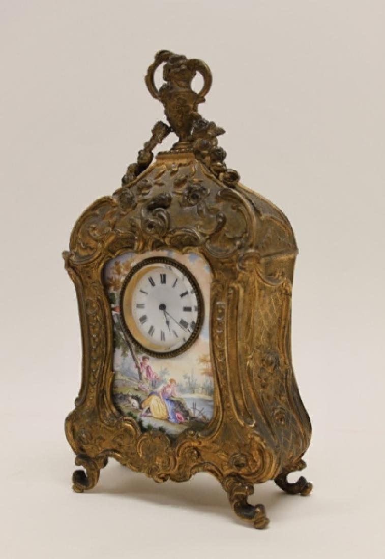 19C French Rococo Dore Bronze & Enamel Shelf Clock - 3