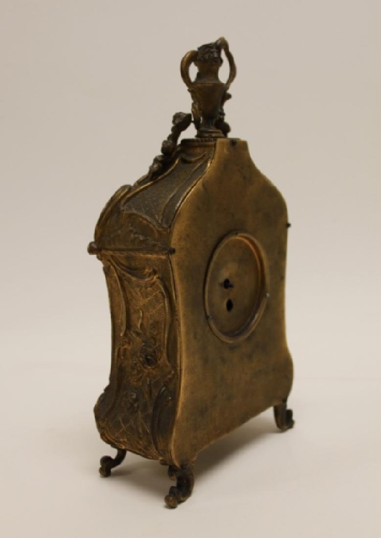 19C French Rococo Dore Bronze & Enamel Shelf Clock - 5