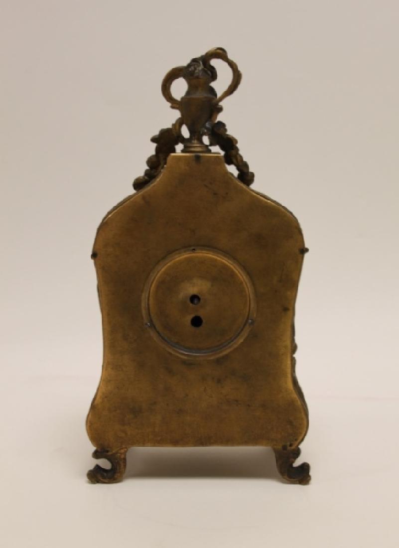 19C French Rococo Dore Bronze & Enamel Shelf Clock - 6