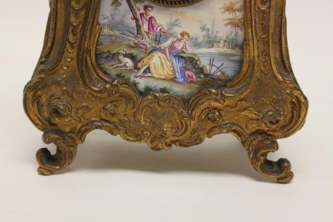 19C French Rococo Dore Bronze & Enamel Shelf Clock - 8