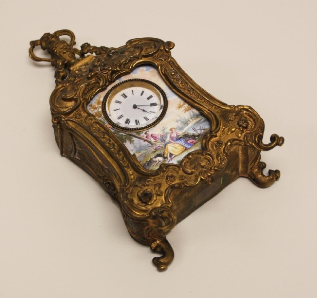 19C French Rococo Dore Bronze & Enamel Shelf Clock - 9
