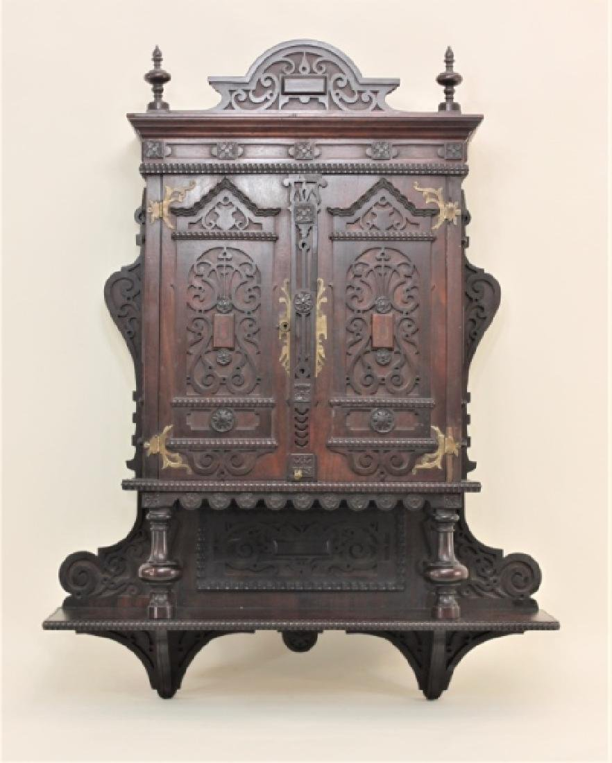 19C Victorian Gothic Vanity Medicine Wall Cabinet