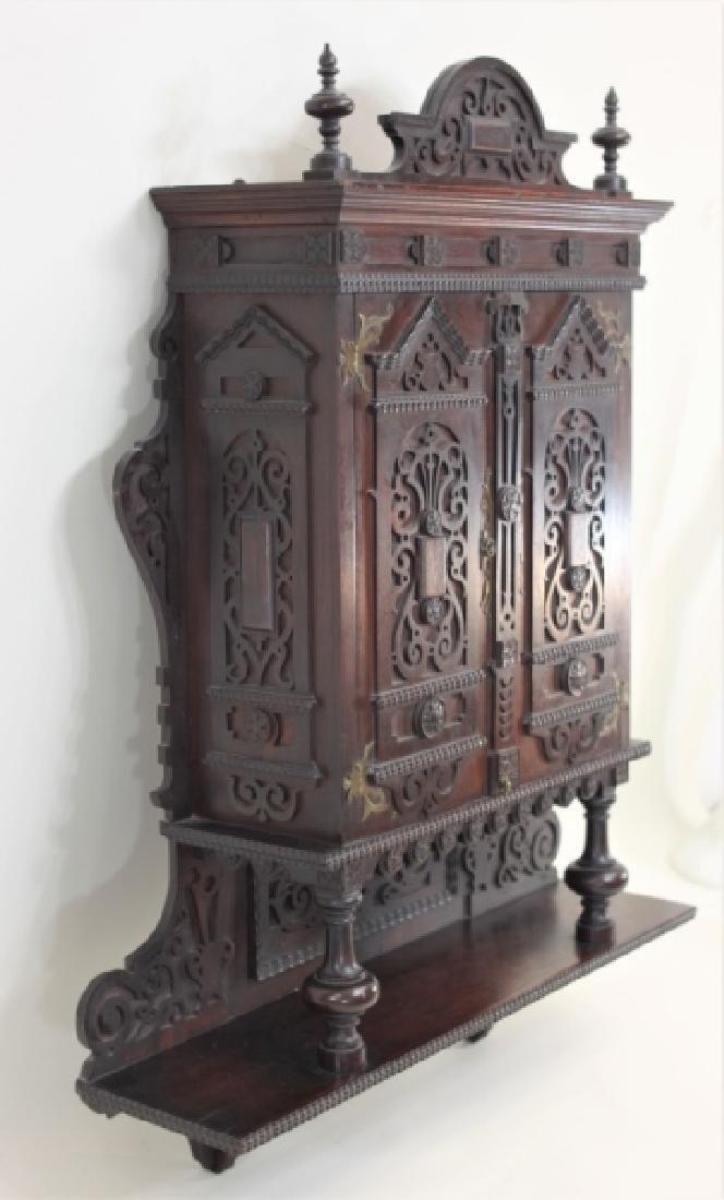 19C Victorian Gothic Vanity Medicine Wall Cabinet - 4