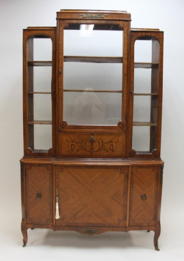 Antique French China Closet w Display Cabinet