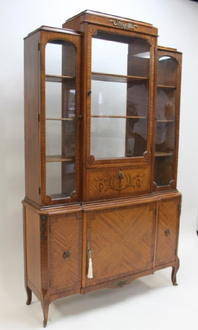 Antique French China Closet w Display Cabinet - 2