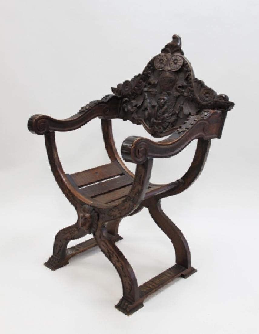 19C Thebes Chair Winged Lion w Family Crest