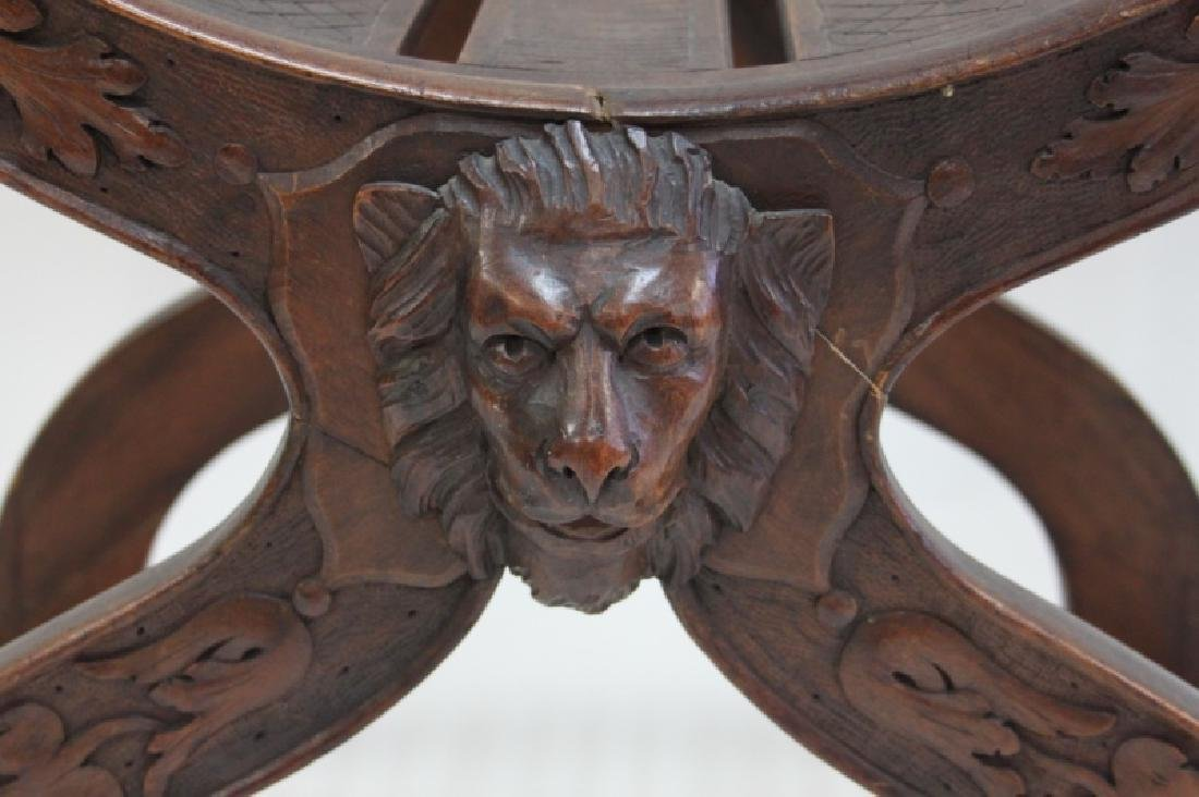 19C Thebes Chair Winged Lion w Family Crest - 6