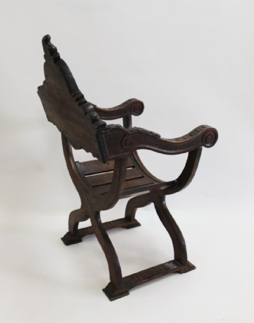 19C Thebes Chair Winged Lion w Family Crest - 9