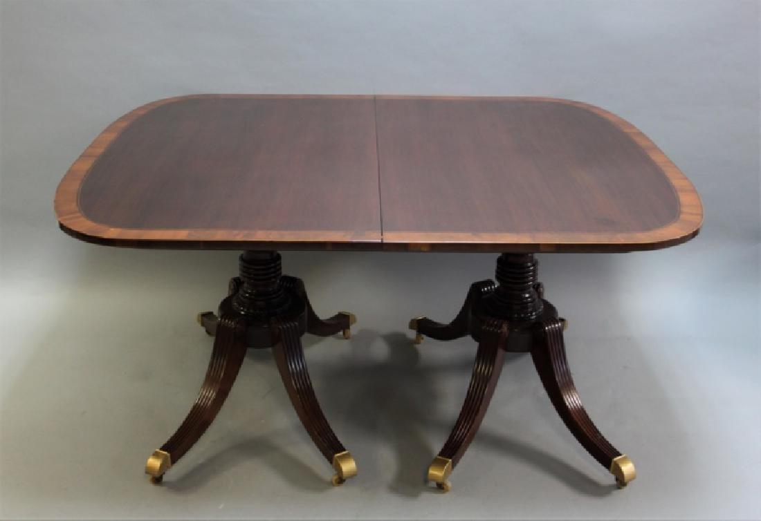 Mahogany Pedestal Dining Table w Banded Inlay