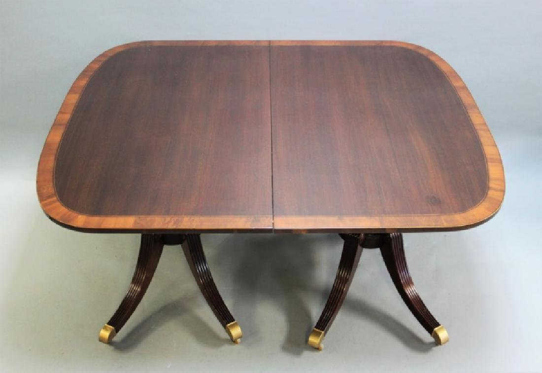 Mahogany Pedestal Dining Table w Banded Inlay - 6