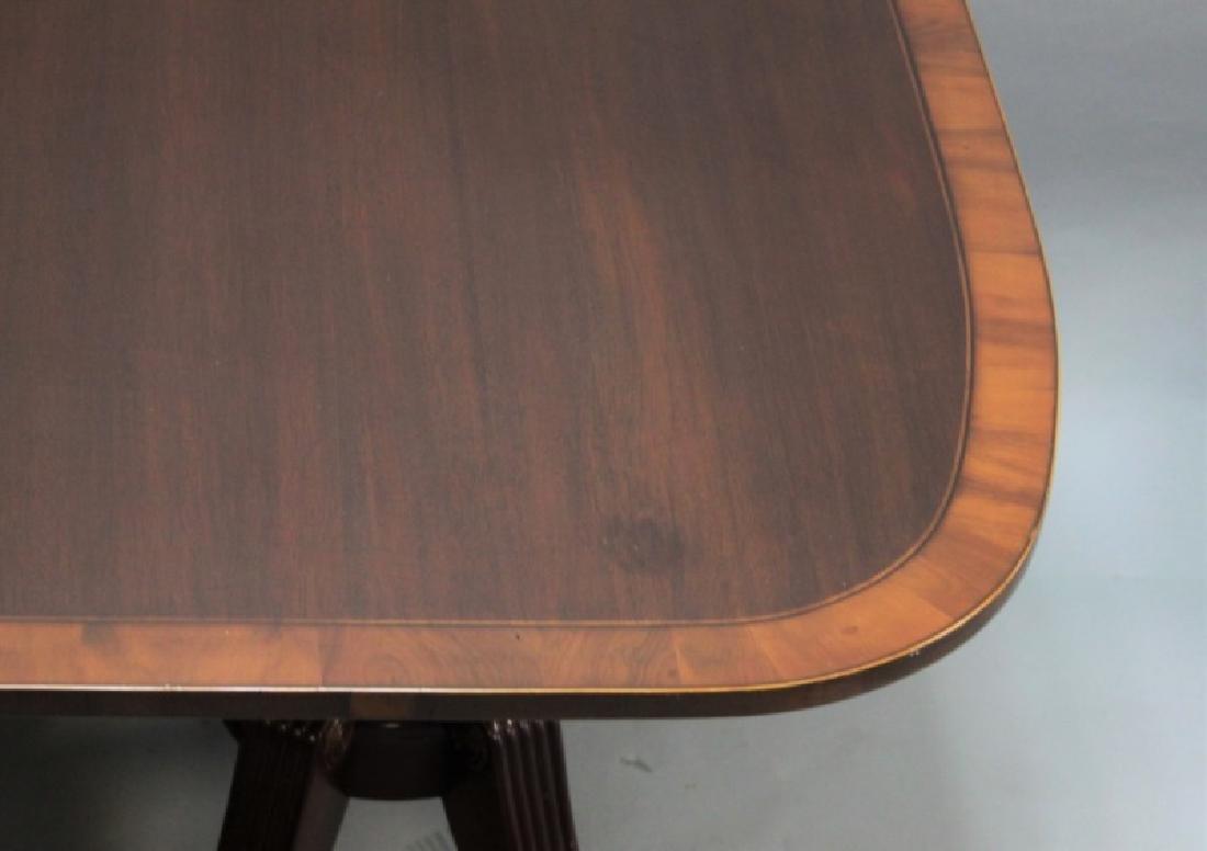 Mahogany Pedestal Dining Table w Banded Inlay - 7