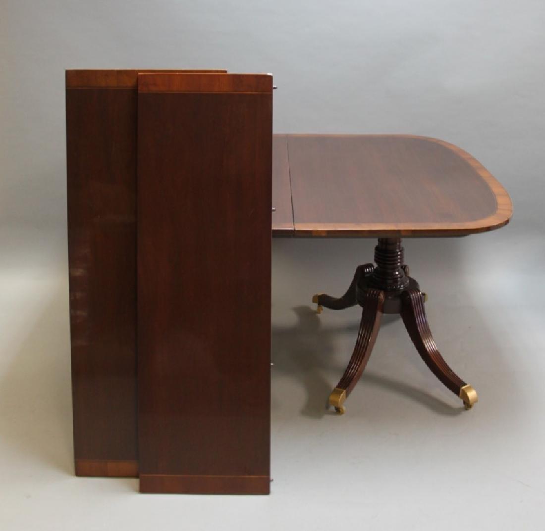 Mahogany Pedestal Dining Table w Banded Inlay - 8