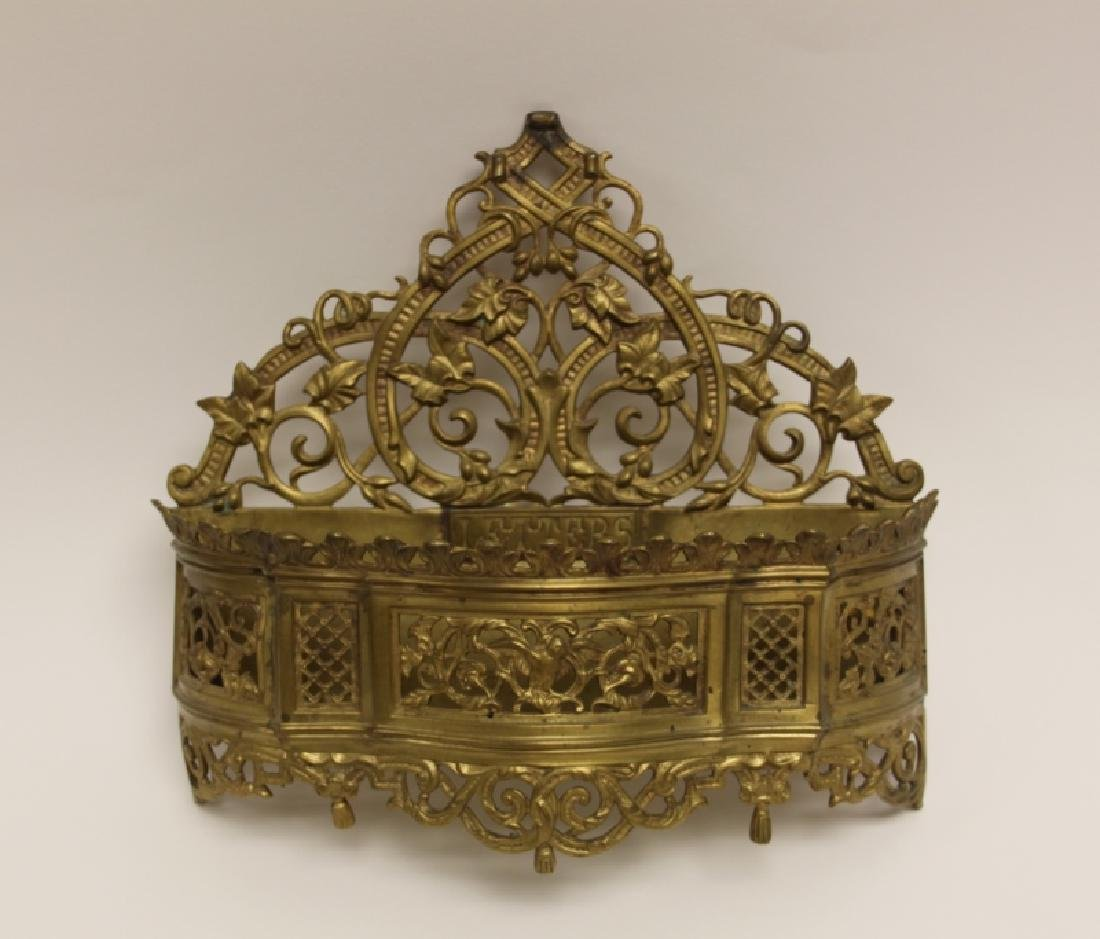 Art Nouveau English Brass Letter Box / Basket - 2