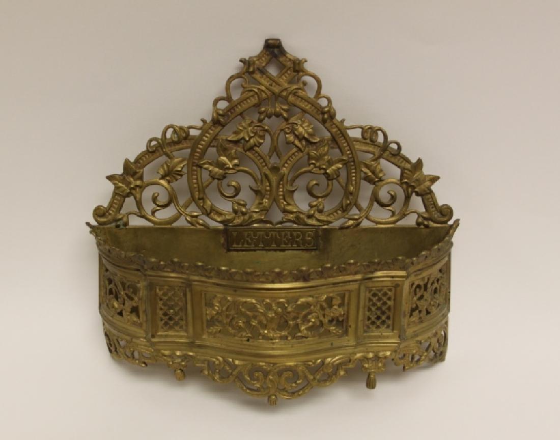 Art Nouveau English Brass Letter Box / Basket - 3
