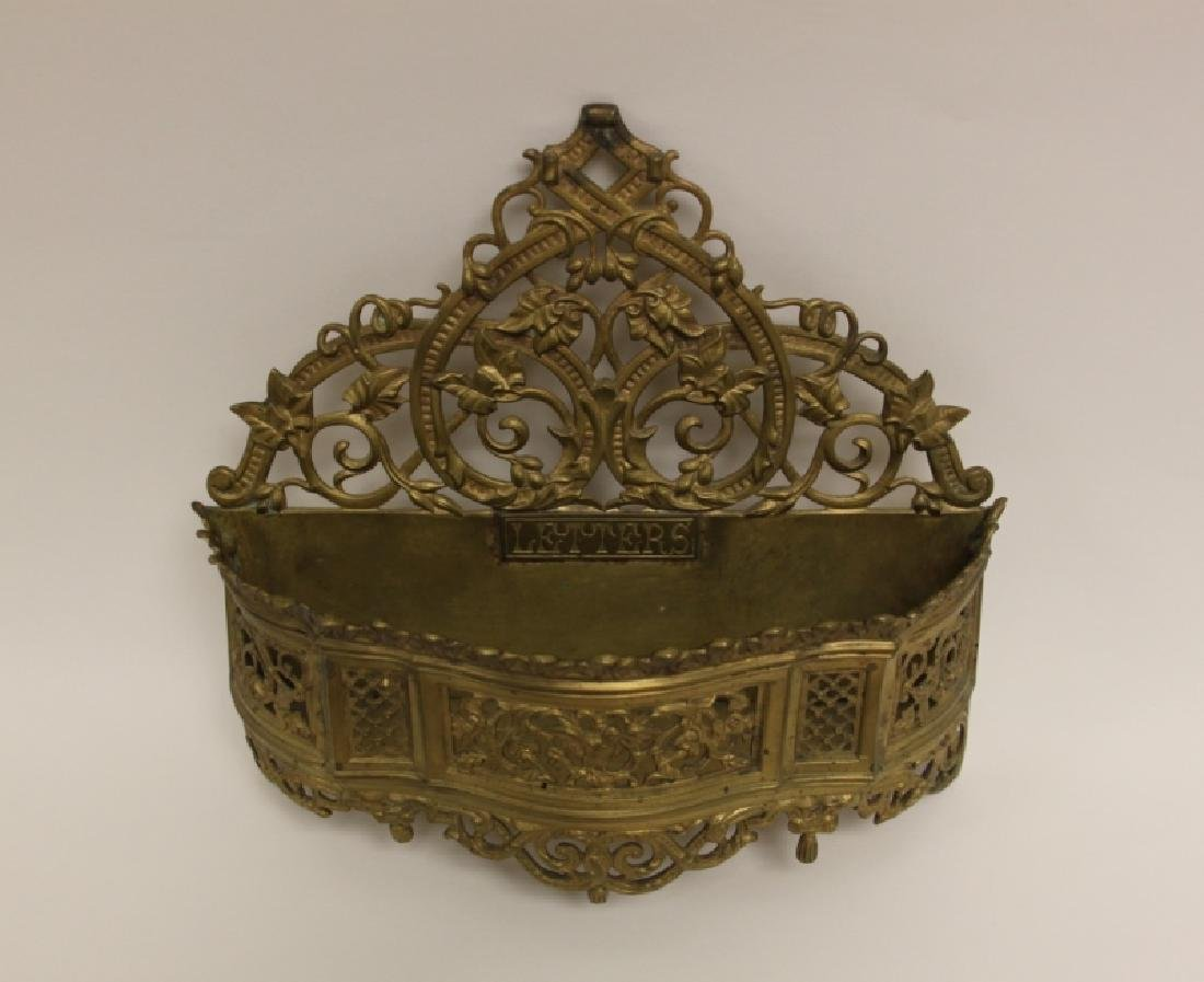 Art Nouveau English Brass Letter Box / Basket - 4