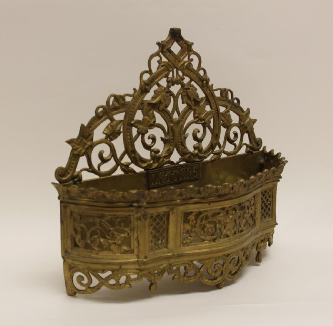 Art Nouveau English Brass Letter Box / Basket - 5