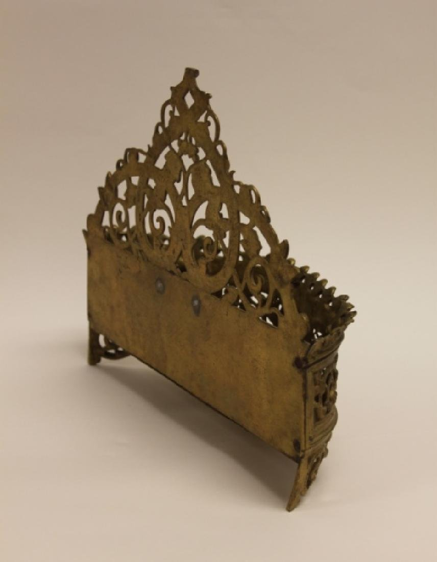 Art Nouveau English Brass Letter Box / Basket - 7