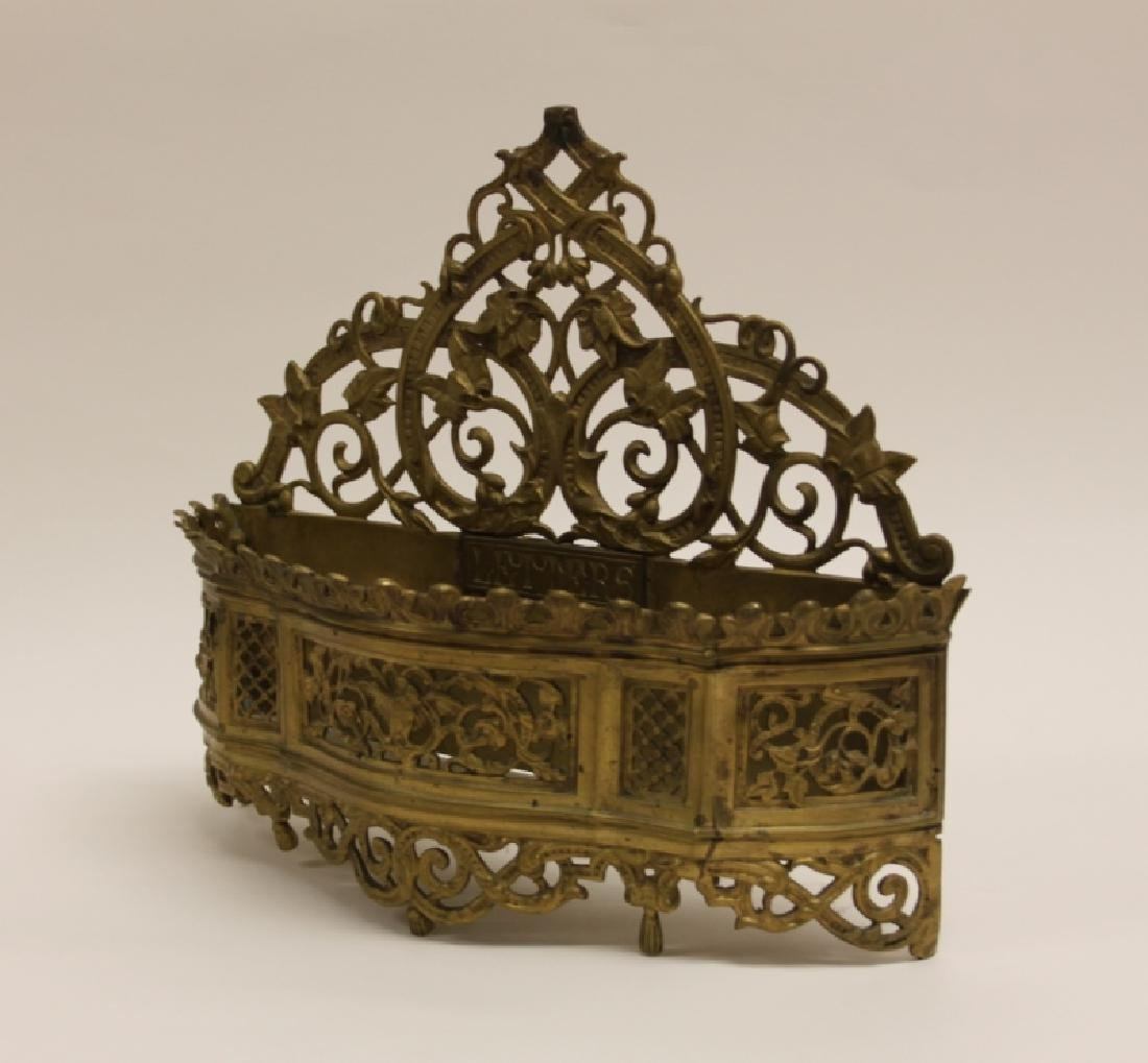 Art Nouveau English Brass Letter Box / Basket - 9