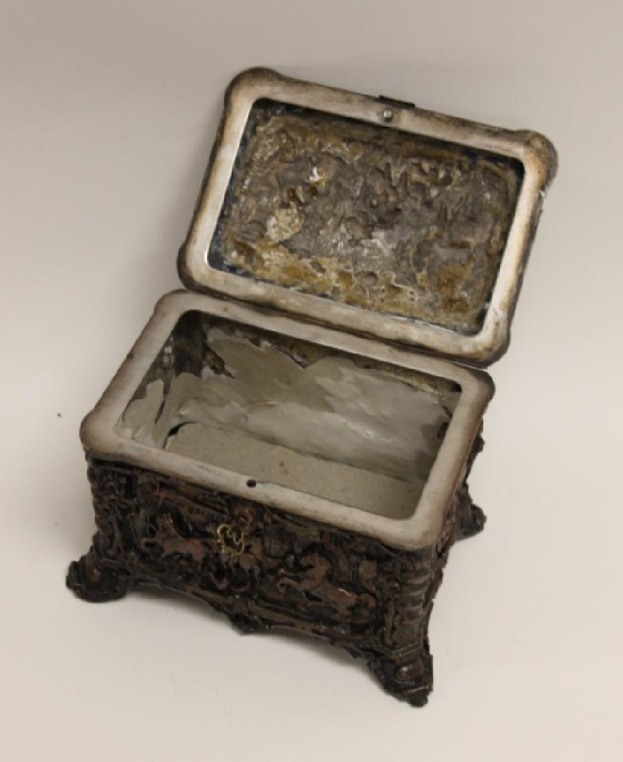 19C Repousse Jewelry Box w Country Estate Vistas - 10