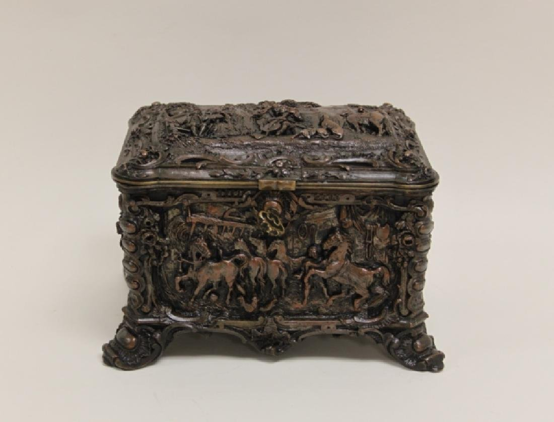 19C Repousse Jewelry Box w Country Estate Vistas - 2