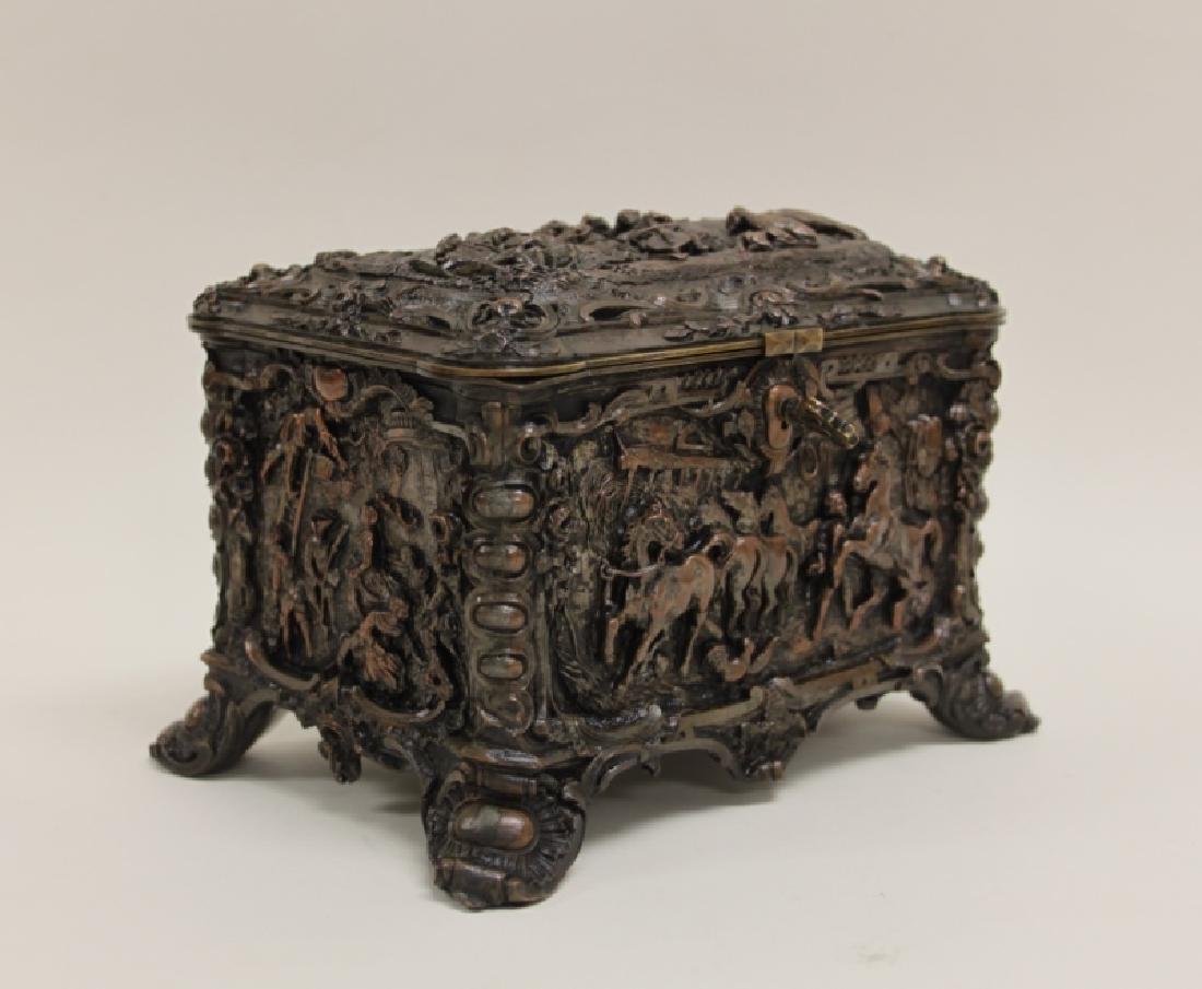 19C Repousse Jewelry Box w Country Estate Vistas - 5