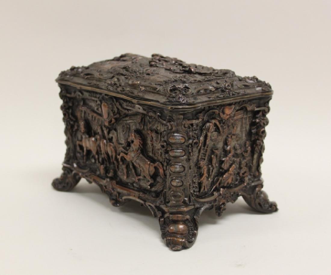 19C Repousse Jewelry Box w Country Estate Vistas - 7