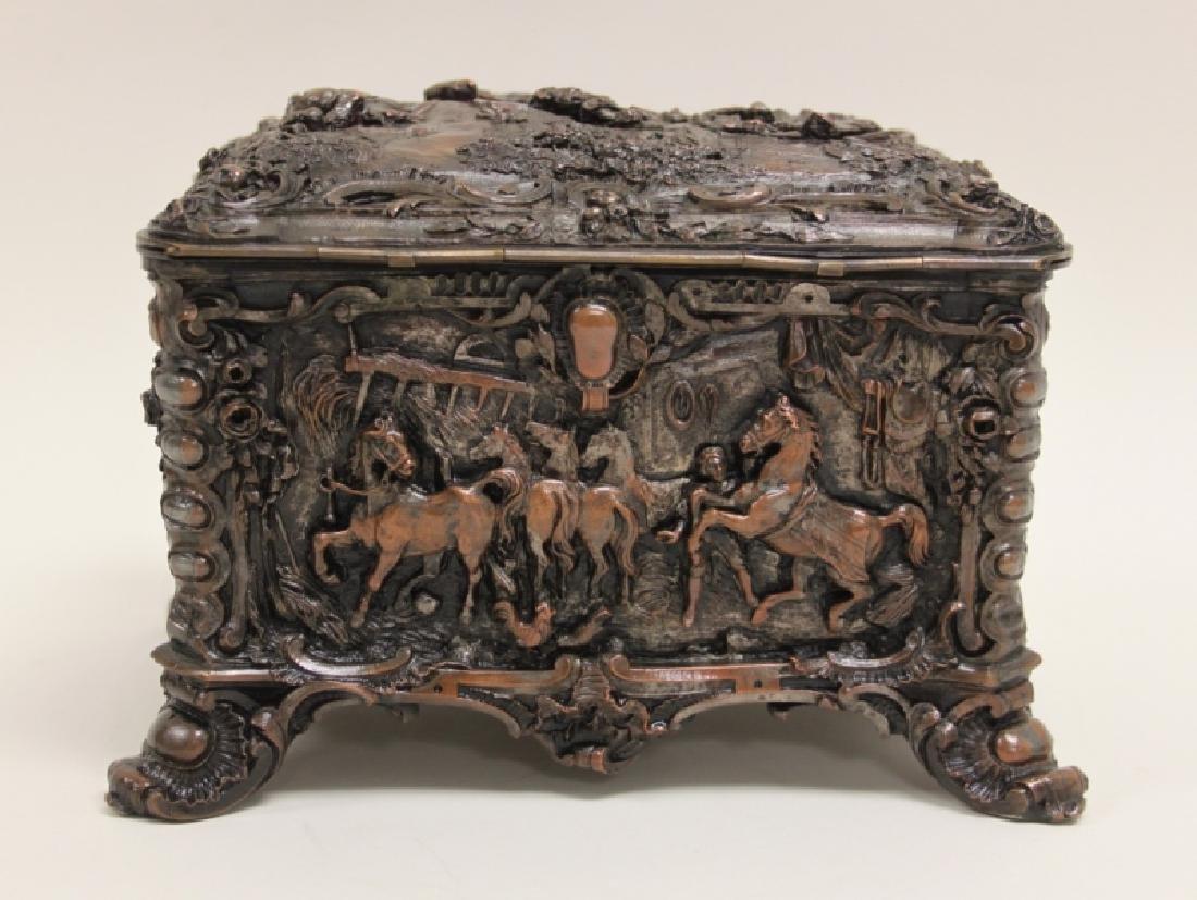 19C Repousse Jewelry Box w Country Estate Vistas - 9
