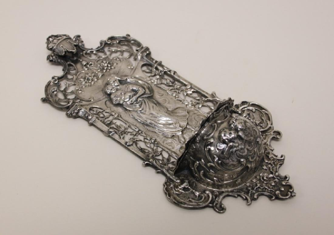19C Sterling Silver Madonna Child Holy Water Font