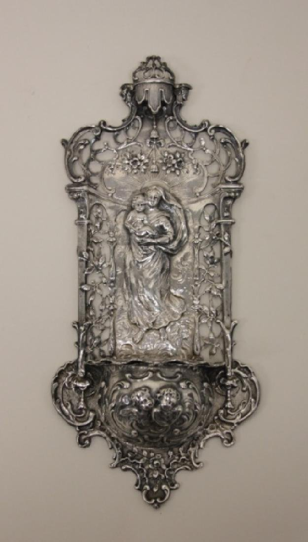 19C Sterling Silver Madonna Child Holy Water Font - 2