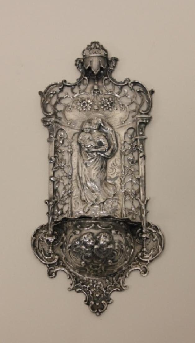 19C Sterling Silver Madonna Child Holy Water Font - 3