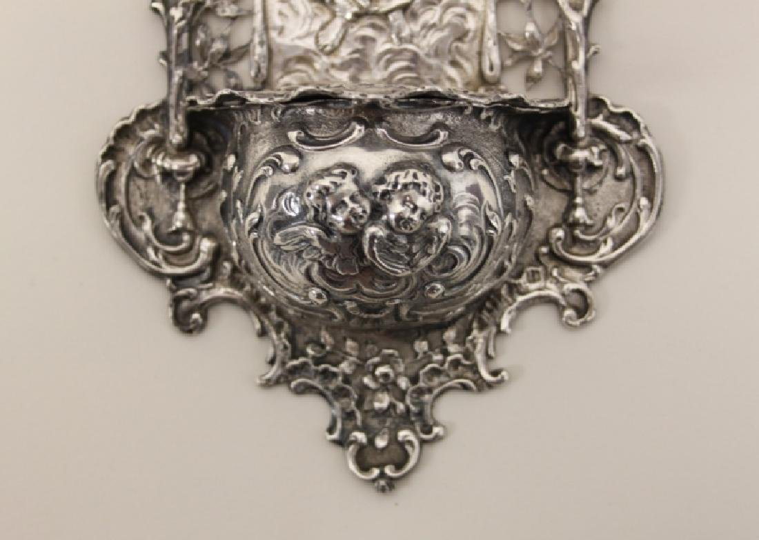 19C Sterling Silver Madonna Child Holy Water Font - 5