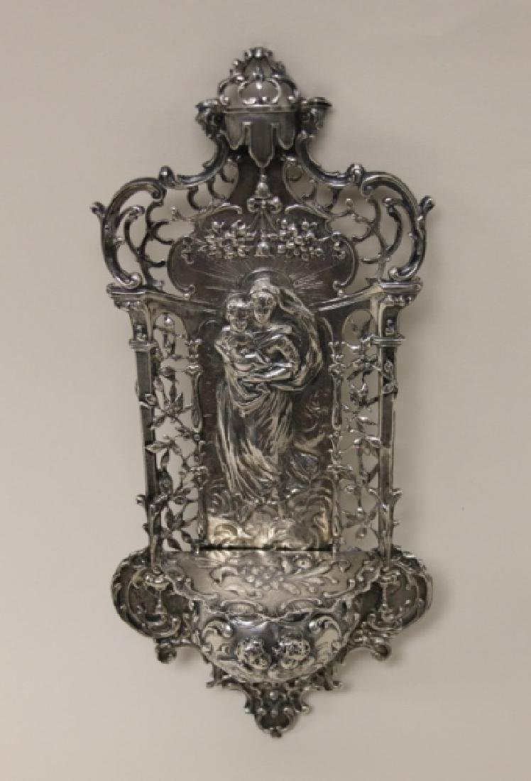 19C Sterling Silver Madonna Child Holy Water Font - 6