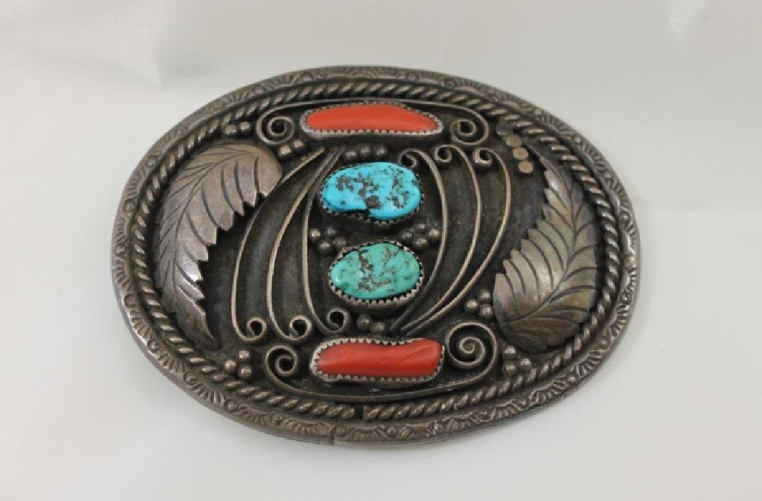 Navajo Sterling Belt Buckle w Turquoise & Coral
