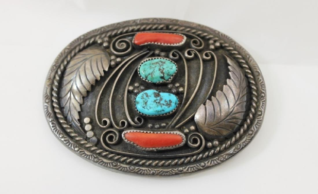Navajo Sterling Belt Buckle w Turquoise & Coral - 2