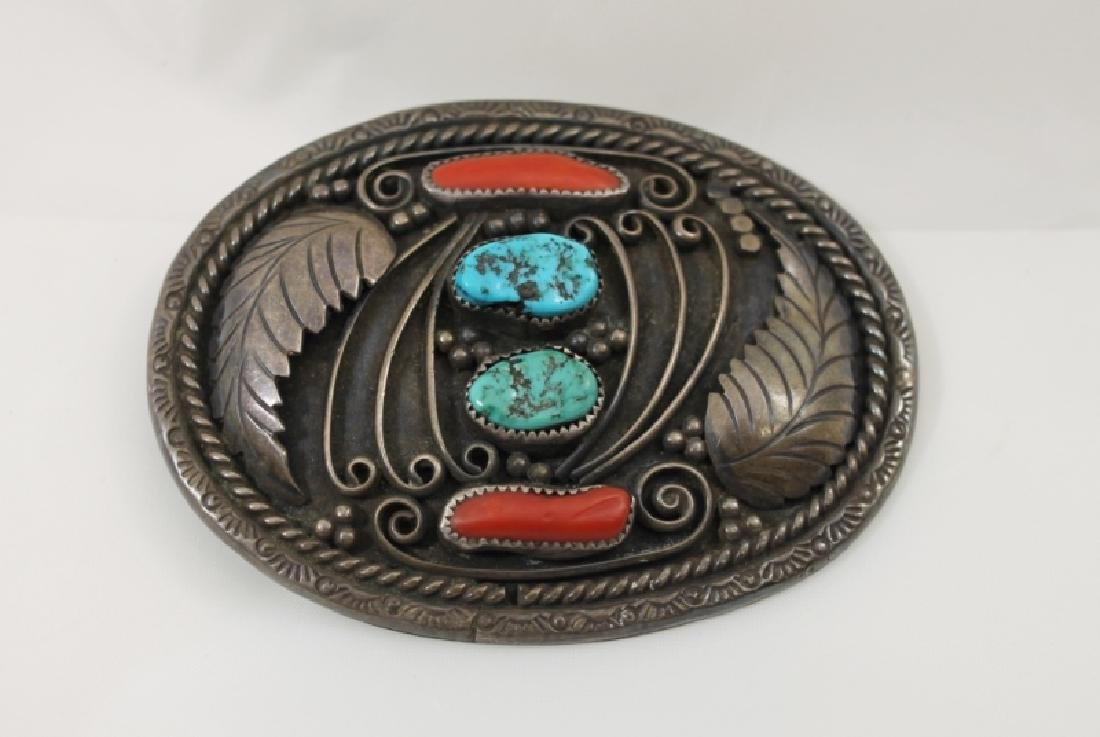 Navajo Sterling Belt Buckle w Turquoise & Coral - 3
