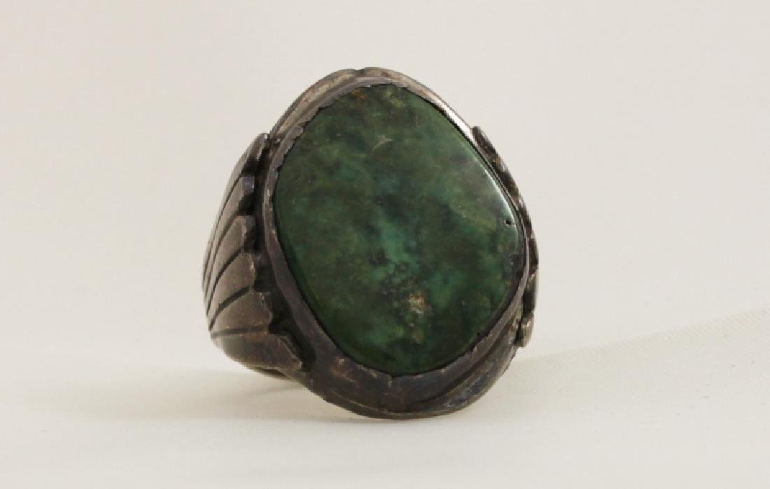 Navajo Sterling Silver Ring w Green Turquoise - 3