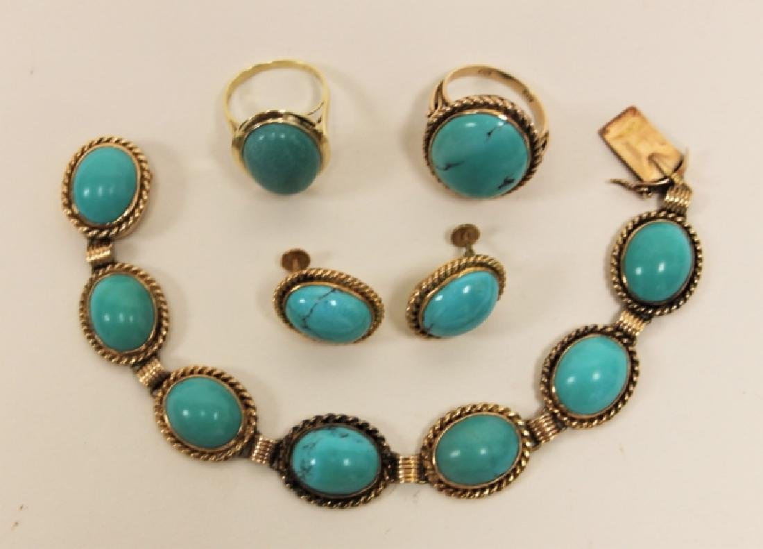 (5)pcs 14K & Turquoise Bracelet, Rings & Earrings