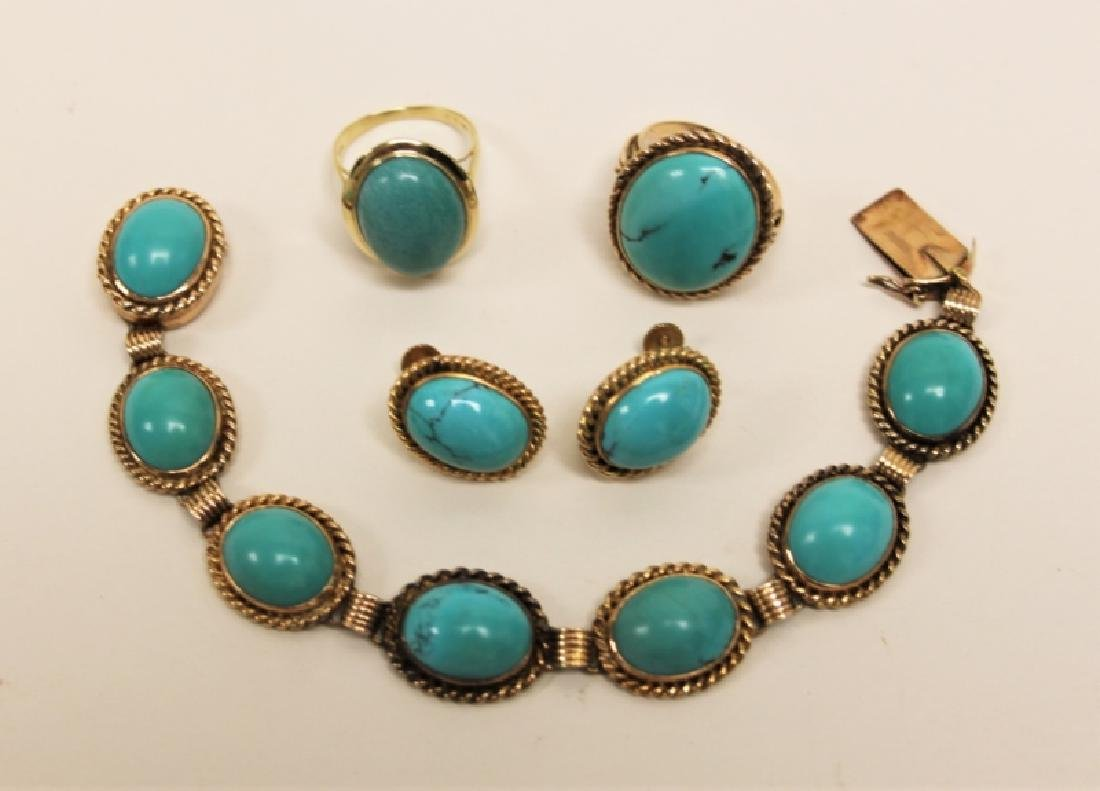 (5)pcs 14K & Turquoise Bracelet, Rings & Earrings - 2