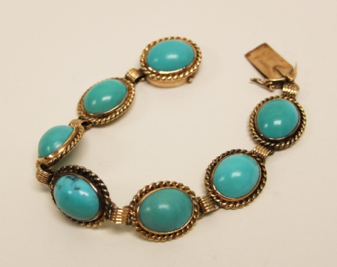 (5)pcs 14K & Turquoise Bracelet, Rings & Earrings - 3