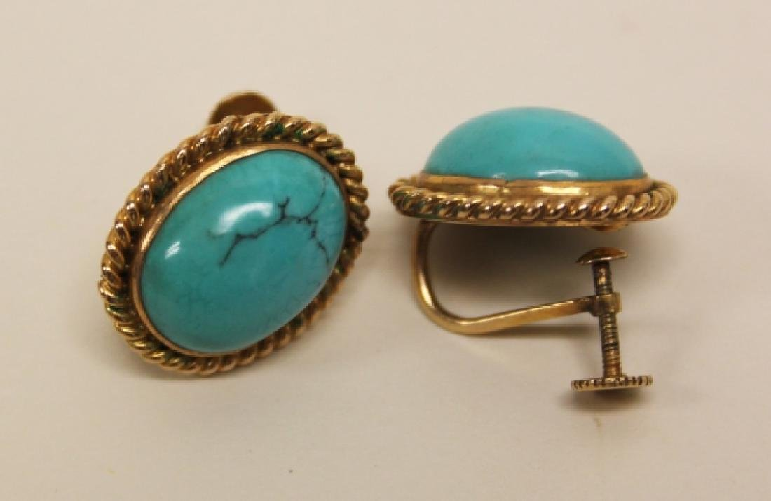 (5)pcs 14K & Turquoise Bracelet, Rings & Earrings - 4