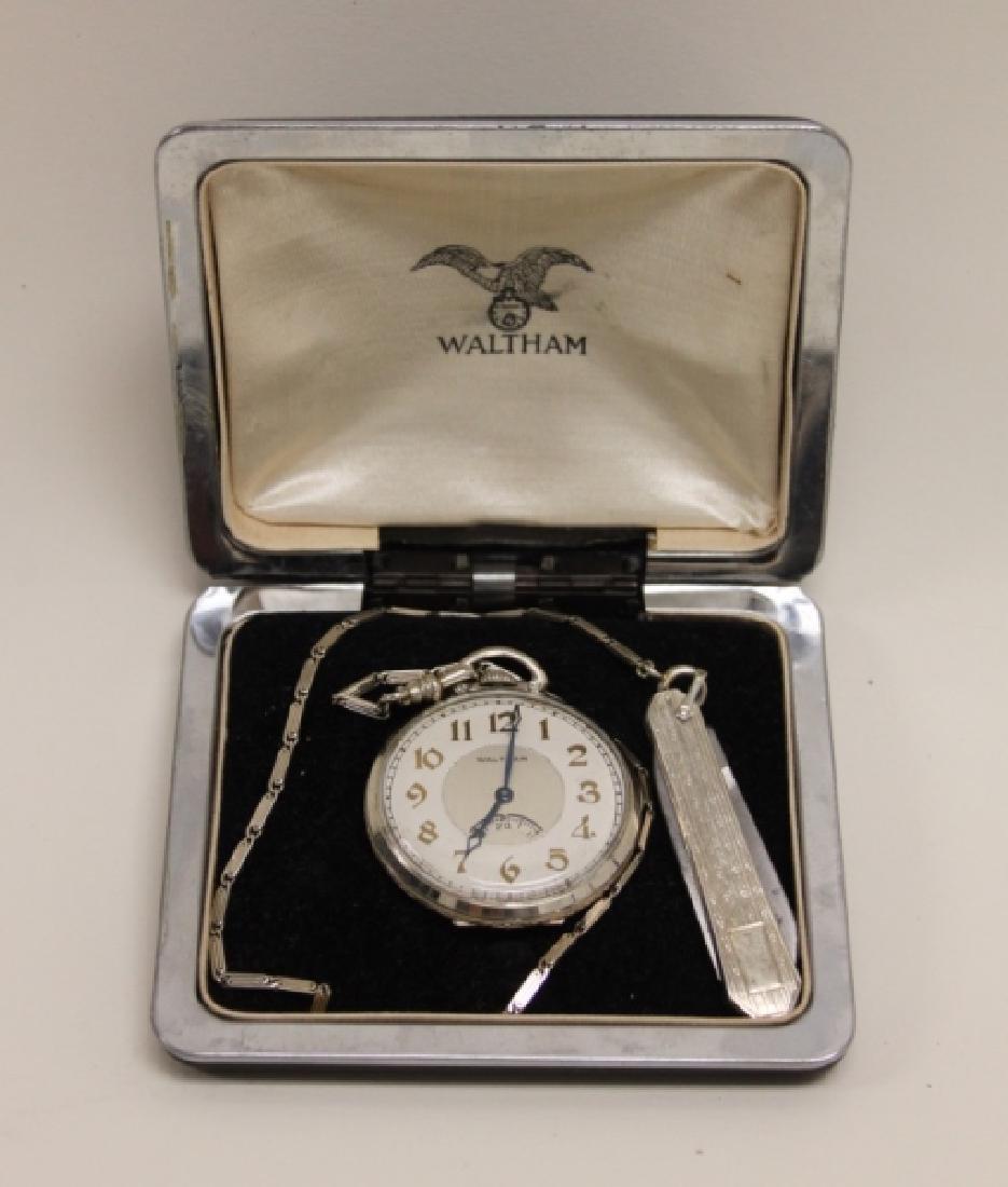 Waltham USA 14K 19 Jewel Pocket Watch Chain Knife