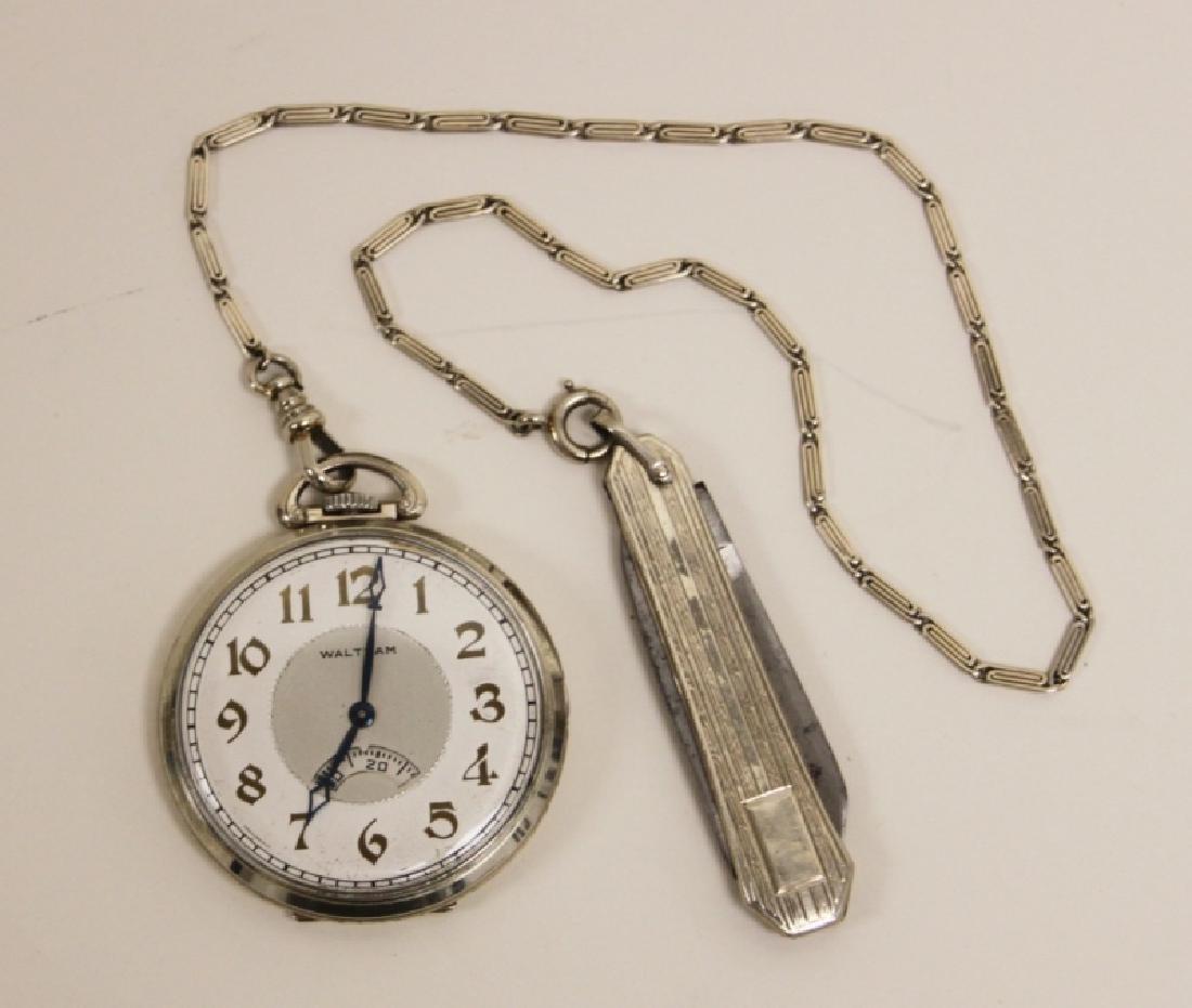 Waltham USA 14K 19 Jewel Pocket Watch Chain Knife - 2